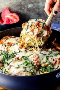 a pan with eggplant lasagna