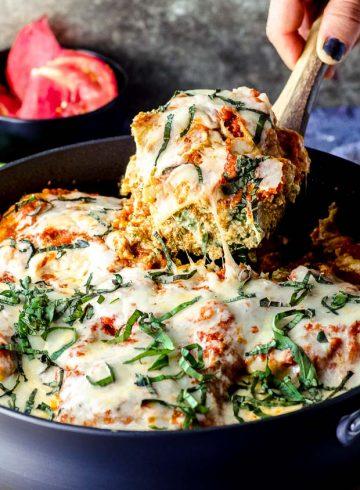 High Protein Skillet Eggplant Lasagna