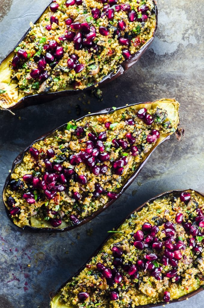 Bird's eye view of a stuffed eggplant recipe from our cookbook tahini and turmeric