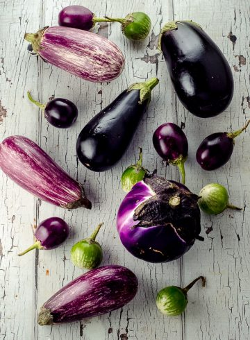 a picture of different varieties of eggplant