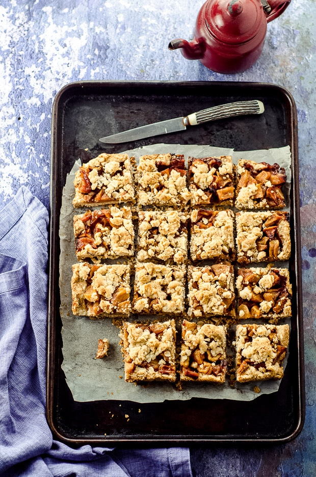 Bird's eye view of Apple oat bars in a pan
