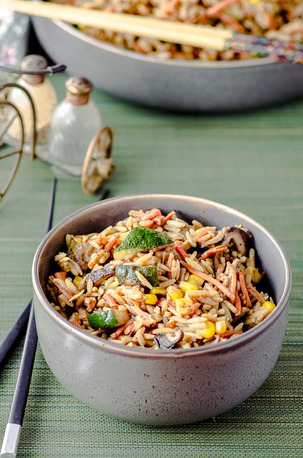 close up view of a bowl of High Protein Shiitake Chinese Fried Rice