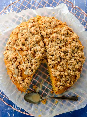 Bird's eye view of our vegan pumpkin coffee cake with a slice missing