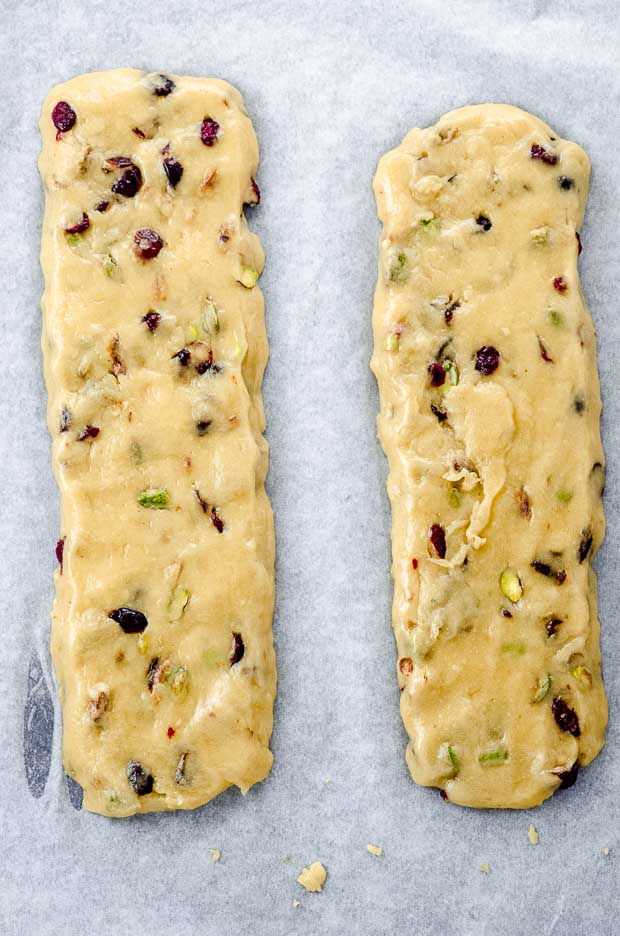 Two biscotti dough logs before they are baked