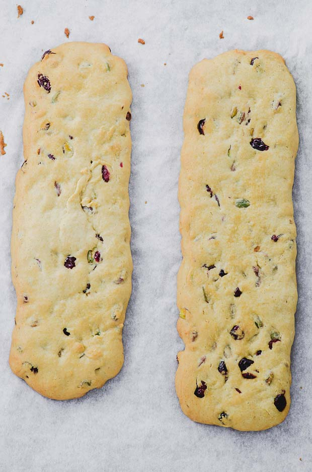 bird's eye view of two biscotti logs baked