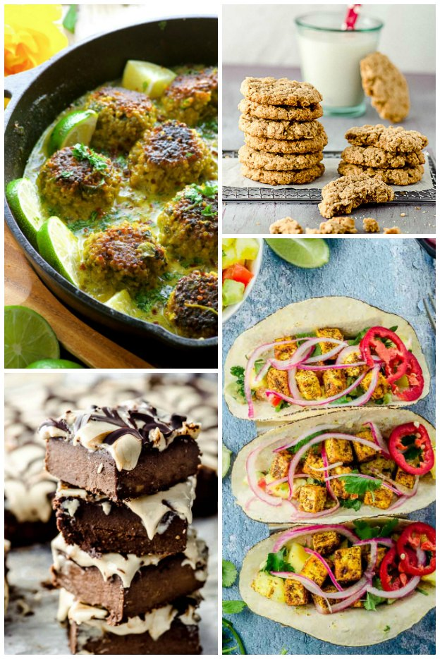 A photo collage of 4 vegan recipes