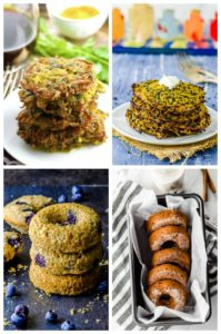 A collage image of the donuts and latkes for hannukah
