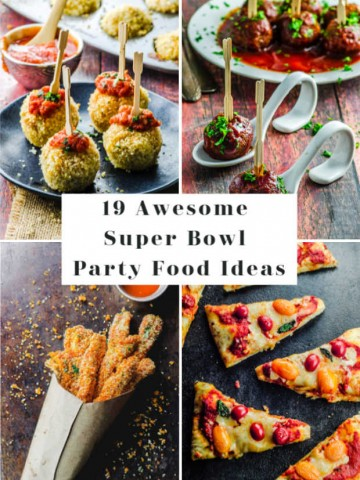 A collage of Super bowl party food images