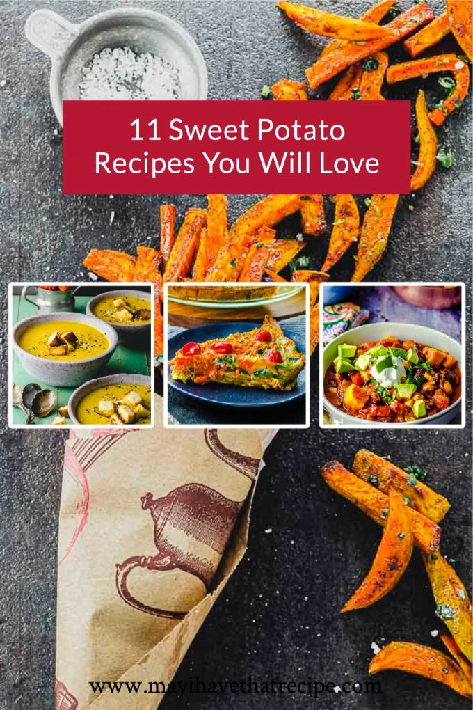 A collage of images of sweet potato recipes