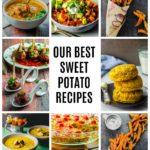A photo collage of 9 sweet potato recipes