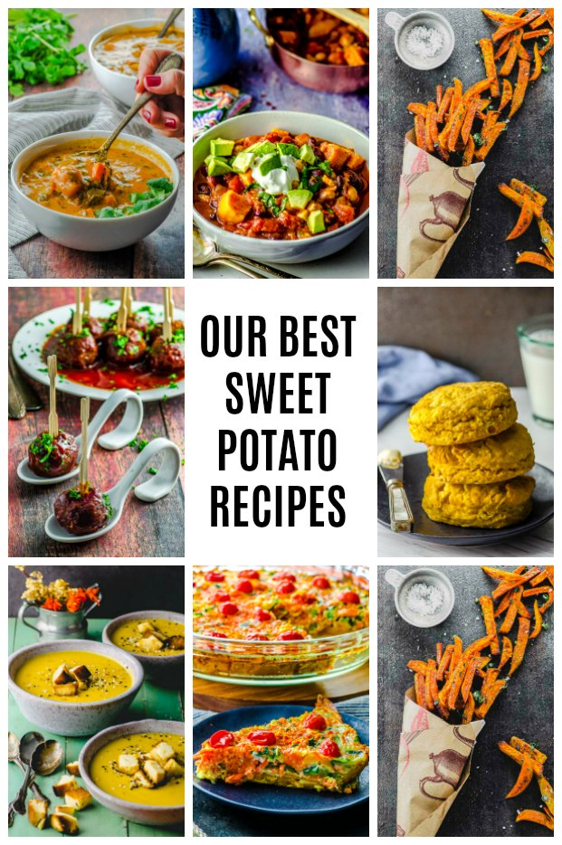 A photo collage of 9 sweet potato recipes