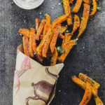Sweet potato fries in a paper cone