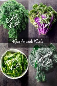 A picture collage of 4 different types of kale