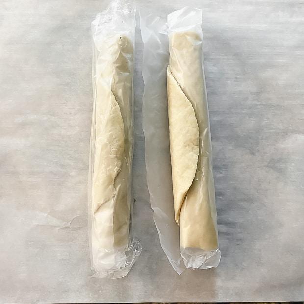 Two rolls of premade pie crust to make hamantaschen