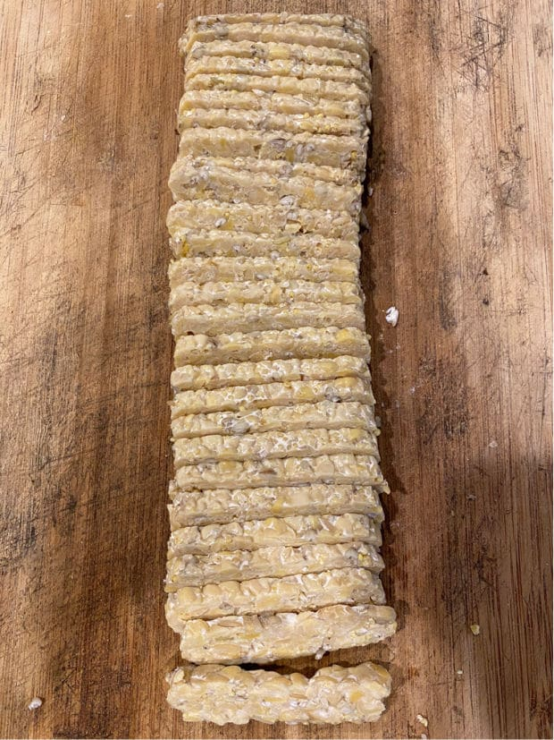 A blocked of tempeh, sliced