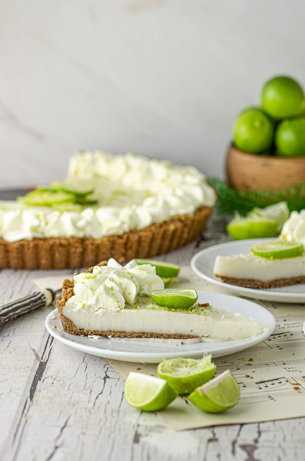 Side view of a slice of key lime pie tart