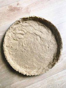 Bird's eye view of a graham cracker crust