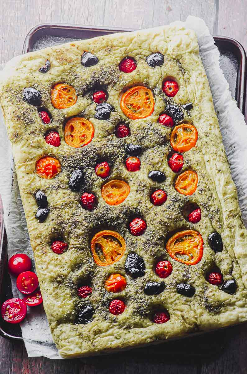 Focaccia Bread With Za Atar Olives And Tomatoes May I Have That Recipe