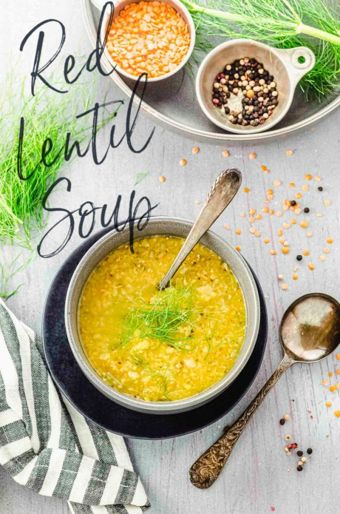 Overhead view of a bowl of Fennel and red lentil soup