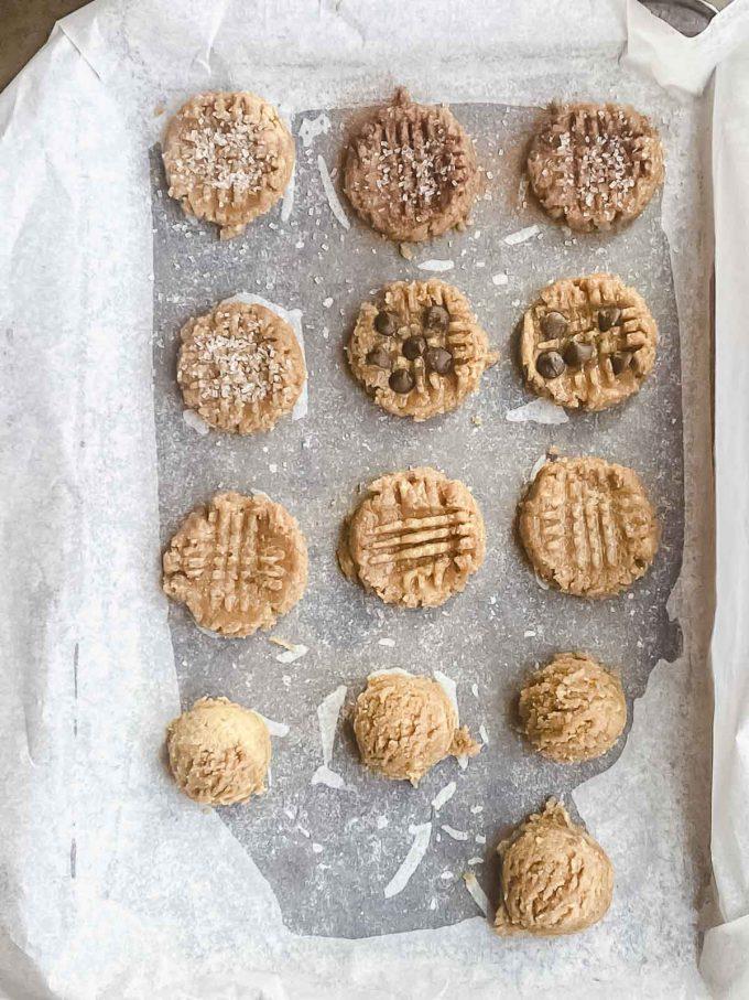 baking sheet with peanut butter cookie dough balls
