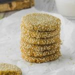 5 tahini cookies piled high