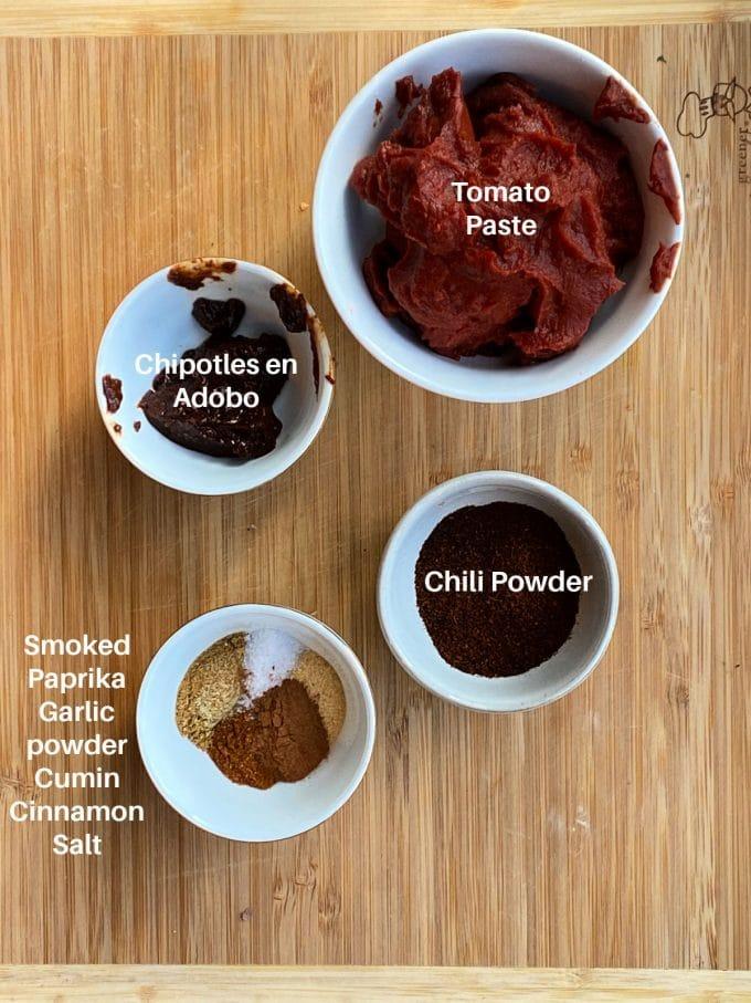 Ingredients for enchilada sauce labeled