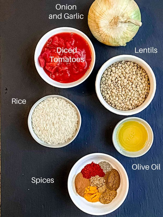 Bird's eye view of lentils soup ingredients, labeled. Lentils, onions, diced tomatoes, rice, olive oil, and spices
