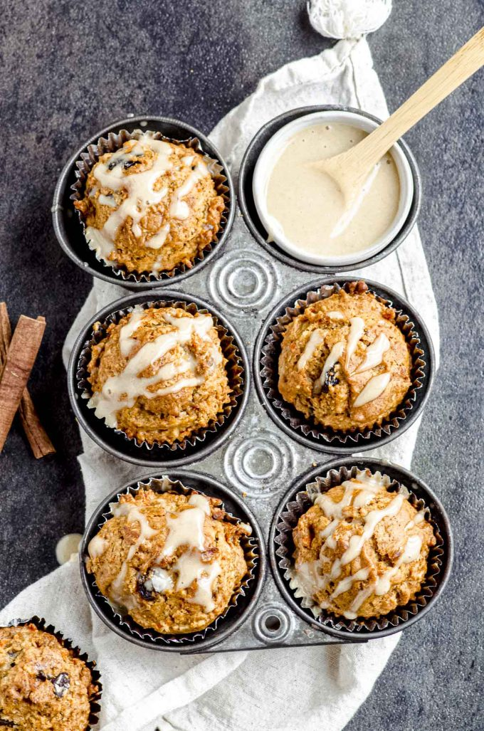 Overhead view of a 6-hole muffin tin with morning glory muffins