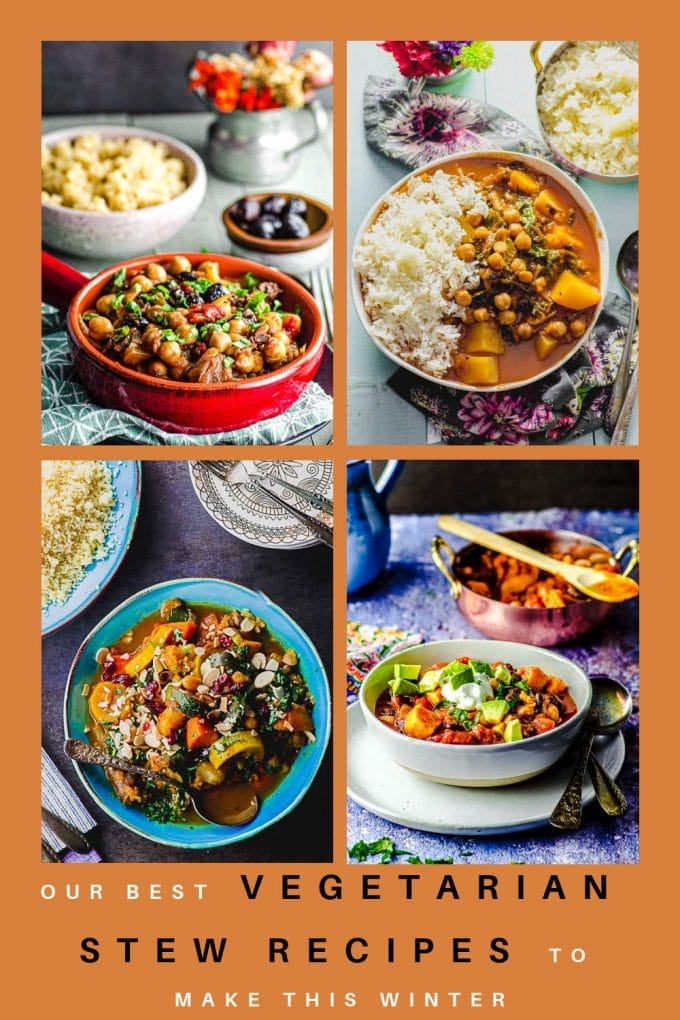 A collage of vegetarian stew images on a light brown background