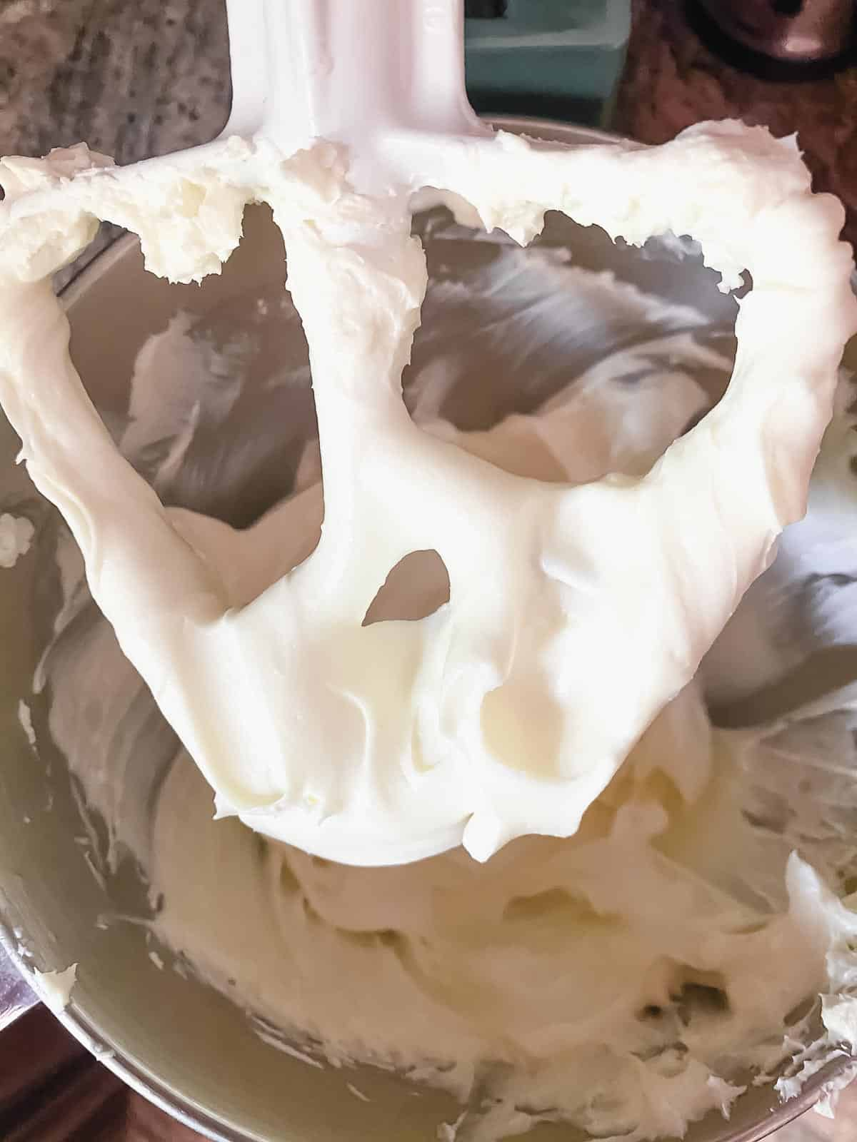 Creaming cream cheese in a stand up mixer