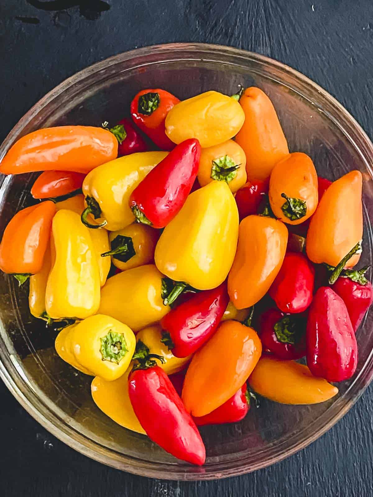 mini sweet peppers in a bowl
