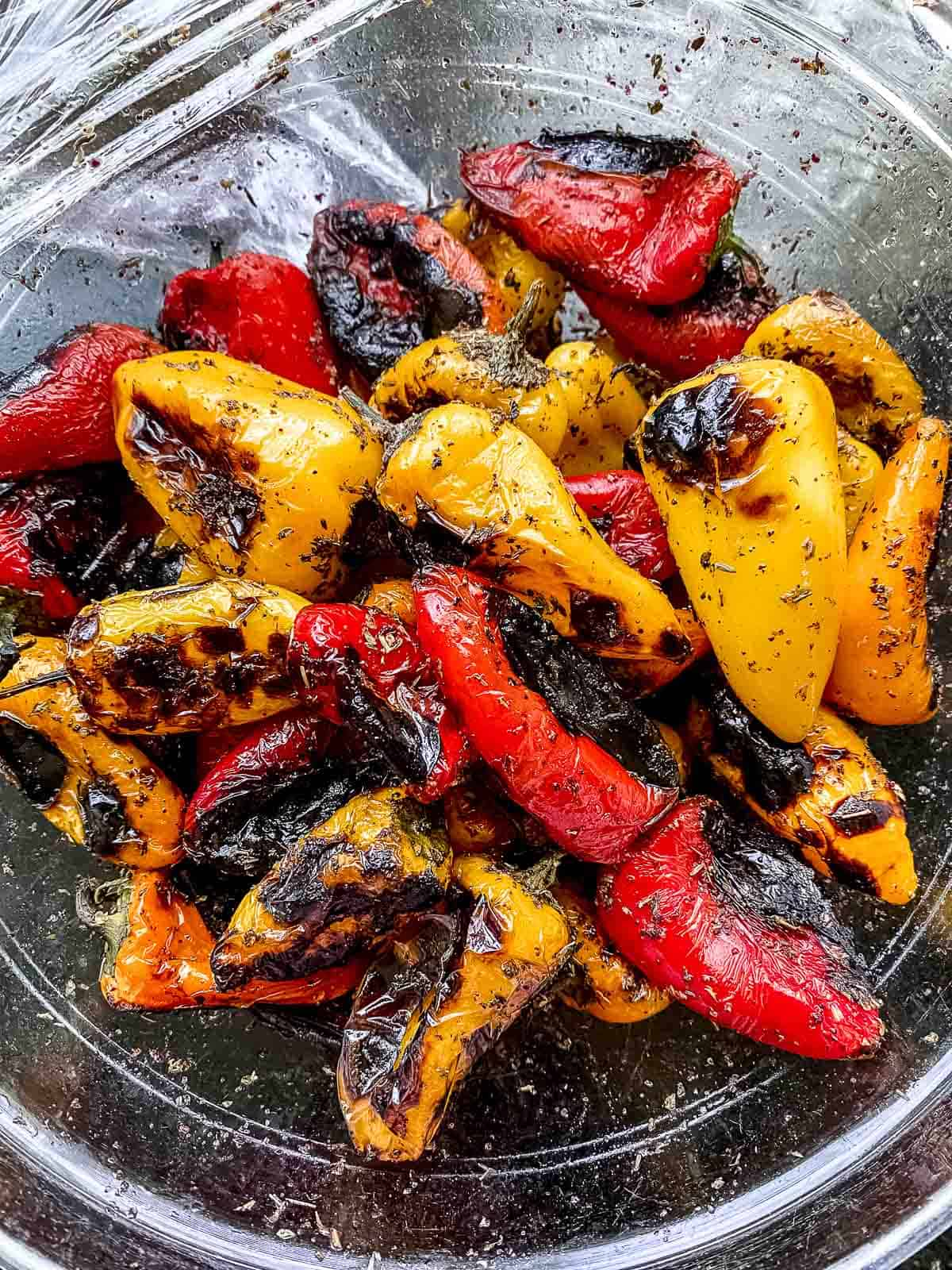 Grilled sweet peppers in a bowl