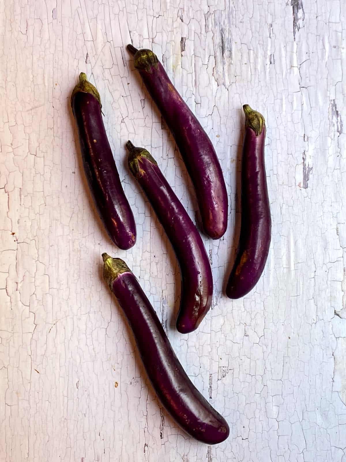 Five Japanese eggplants (aubergine)