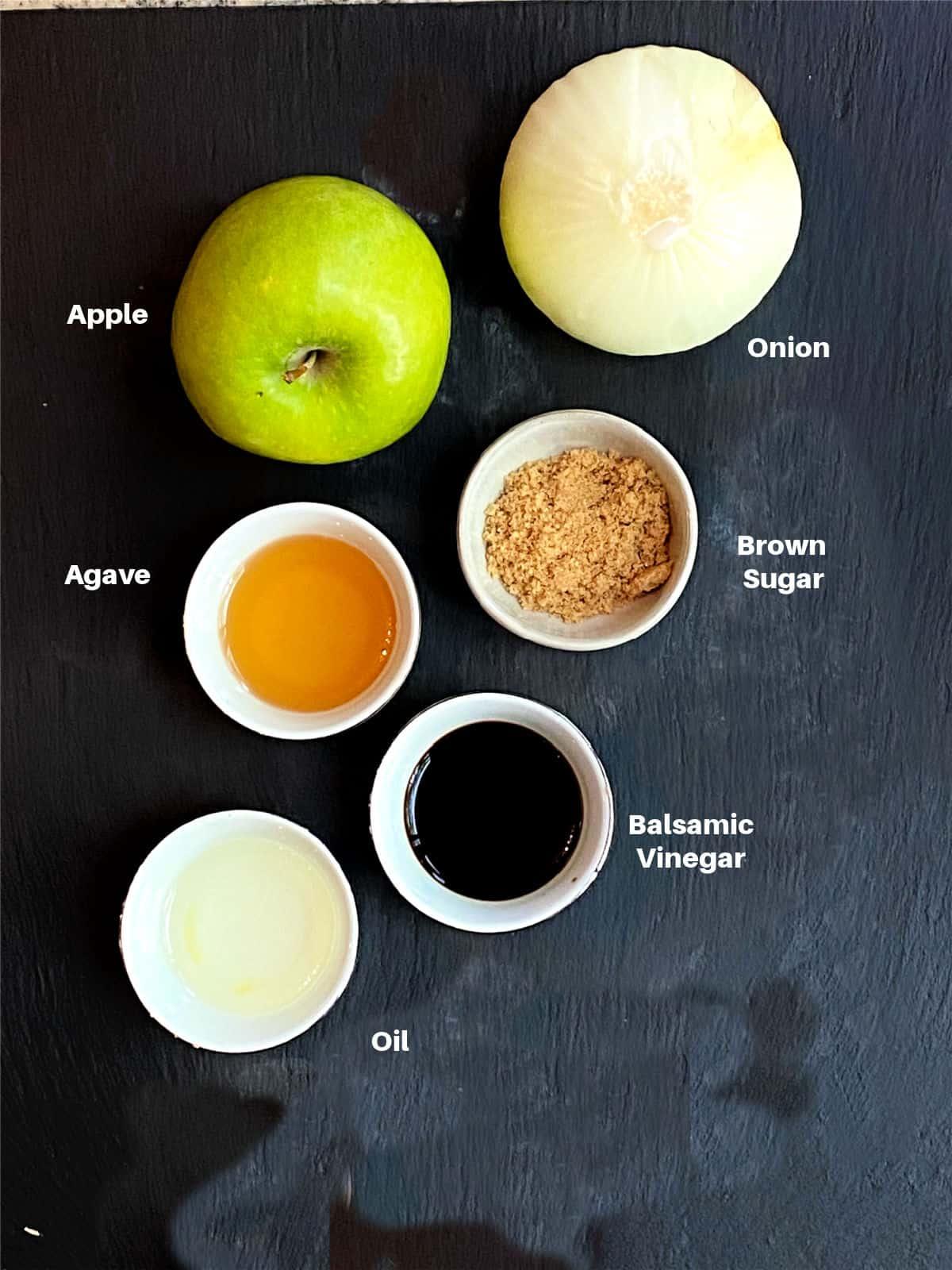 ingredients for apple chutney.  Apples, onion, agar, brown sugar, balsamic vinegar and oil