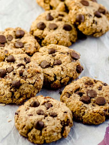 Close up view of oatmeal chocolate chip cookies
